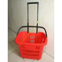 Quality HDPE Hand Rolling Shopping Basket On Wheels For Supmermarket , 25kg Capacity for sale