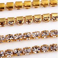 China Closely Double D Rhinestone Cup Chain Gold Metal Setting on sale
