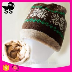 Quality 2017 Custom Wholesale 20*28cm 77g 100% Acrylic Jacquard Snowflower with tassel  Winter Inner Fleece Knitting Beanie Hats for sale