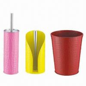 China 3-piece Bathroom Ware Set (Toilet Brush + Paper Towel Holder + Trash Bin), Powder Coating Color on sale