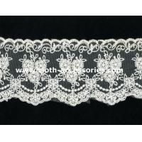 China 100 Cotton Lace Fabric For Dressmaking / Double Edged Scalloped Lace Trim on sale