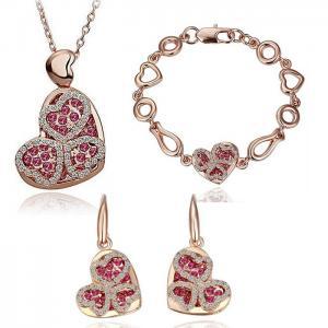 Quality Heart crystal wedding jewelry sets bridal necklace earring bracelet set TJ0134 for sale