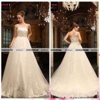 China Real Sample One Shoulder Wedding Gown Lace Applique Wedding Dress on sale