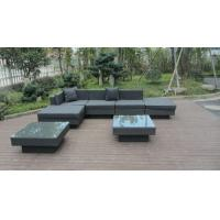 Quality Modern Black Outdoor Rattan Sofa Set For Bar / Cafe / Balcony for sale