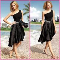 Quality 2012 One Shoulder Ruffle Black Mini Beaded Prom Dresses (ZX-316) for sale