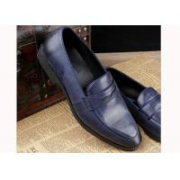 Quality Luxury Mens Leather Casual Shoes Oxford Mens Blue Brogue Shoes For Party / Wedding for sale