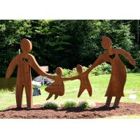 Quality Garden Art Decor Corten Steel Sculpture Family Parents and Children Playing for sale