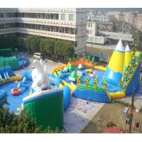 Quality White and blue inflatable water park for summer holiday , inflatable shark pool park for sale