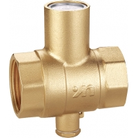 Quality 1102 straight type Magnetic Lockable Brass Ball Valve sizes DN20 DN25 DN32 DN40 DN50 with bottom outlet for thermometer for sale