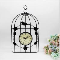 Quality Bird cage metal wall clock home decoration iron clock for sale