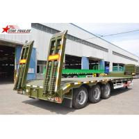 Quality Strong Bearing Capacity Low Loader Semi Trailer , Steel Heavy Duty Low Bed Trailers for sale