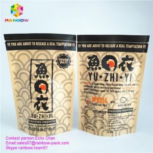 Quality Custom printed kraft paper bag zipper lock bag for 105g gourmet salted egg fish skin crisps for sale