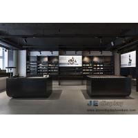 Buy Korea Makeup room interior design Black ash Wood display wall with Shelves and Retail store counters at wholesale prices