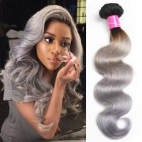 Quality Body Wave Thick Ombre Human Hair Extensions 40 Inch Grey For Women for sale