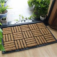 Quality Crasscross Coco Door Mats Plain Style Shaggy Ribbed Striped Pattern for sale