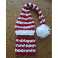 Quality Photography Props Striped Handmade Christmas Santa Elf Long Tail Baby Crochet White Red Hats for sale