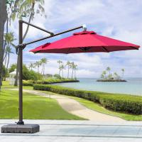 Quality Beer Starbucks Outdoor Garden Patio Umbrella With Red Crank Handle Led Light for sale