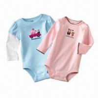 Quality Baby rompers, made of 100% cotton, sizes of 3, 6, 9, 12, 18 and 24m, OEM services are welcome for sale