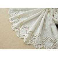 Quality Customized Embroidery Cotton Lace Fabric By The Yard For Dress Cloth Off White Color for sale