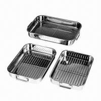 Quality Stainless Steel Roasting Pans with Folding Handle, 0.6mm Thickness for sale