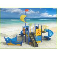 Quality PE plastic coated light blue ship type outdoor playground for kids KQ60104D for sale