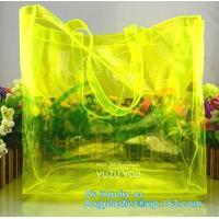 Quality soft loop handle red color 6p free clear PVC bag, handle PVC vinyl packaging bag for gifts, vinyl PVC handles bags with for sale