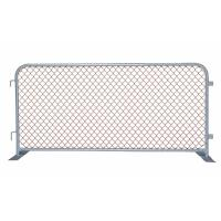 A piece of construction barrier with two flat metal feet on white background.