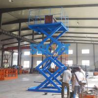 Quality Blue Color Hydraulic Freight Elevator Goods Lift For Warehouse , 2 Years Warranty for sale
