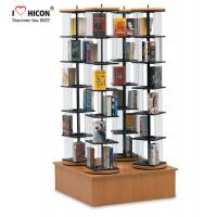 rotating book display stand metal wire pockets cd flooring display