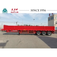 China 3 Axles 40ft Drop Side Flatbed Trailer For Shipping Container on sale