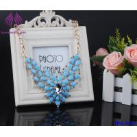China Women Crystal Rhinestone Flower stone Choker Statement Shining glass bead Necklace Pendant on sale