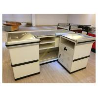 Quality Retail White Supermarket Checkout Counter / Commercial Shop Counter Desk for sale