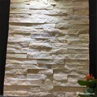 "China White Marble Flat Cultured Stone Mini Panel Split Face Low Variations 0.75-1.25"" on sale"