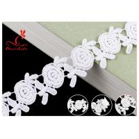 China Embroidered Flower Guipure White Cotton Lace Ribbon For Fashion Clothes on sale