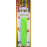 Quality Tall Slender Glitter Birthday Candles 10 White Holders Fluorescent Green for sale