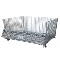 Quality 2 swivel Folding Wire Container , SGS Pallet Mesh Container for sale