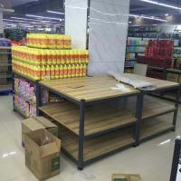Quality 3- Tier Folding Metal Tube Wooden Display Stands / Wooden Store Displays For Supermarket for sale