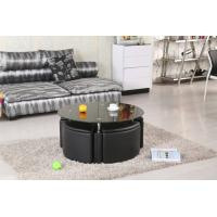 China White Round Coffee Table + 4 Storage Stools on sale