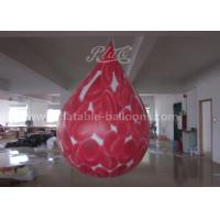 Quality 2.5M Red PVC Inflatable Commercial Helium Balloons Cell Printing Water Drop Shaped for sale
