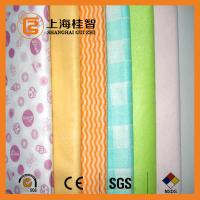 Quality Absorbent Chemical Bond Non Woven Cleaning Cloth Blue Wave Line Square Pattern for sale