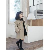 Quality Double-breasted belted trench girls coat ,children coat for sale