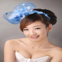 Quality Blue Beaded Feather Daisy Flower Heads (TH-127) for sale