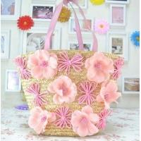Quality Pink flowers straw beach tote bag ladies favor for sale