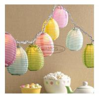 Quality Blue green yellow egg shape Paper Lantern String Lights easter baby shower decoration for sale