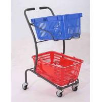 Quality 50KGS Shopping Basket Trolley Japanese Style Zinc Plating Metal Double Basket  Hand Push for sale