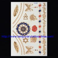 Quality flash foil printed gold silver temporary body tattoo for sale