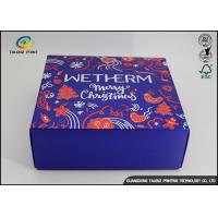 Quality Luxury Christmas Printed Blue Cardboard Gift Boxes / Packaging Paper Box for sale