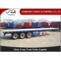 Buy Tri-axle flatbed container semi trailer 40 ton truck trailer use on port at wholesale prices