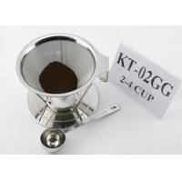 Quality Paperless Stainless Steel Pour Over Cone Dripper , Metal Coffee Filter Cone for sale