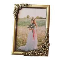 China 5x7 inch Custom Make Antique Brass Plated Metal Rose Picture Frames on sale